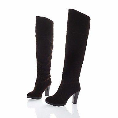 Botas de mujeres PU Confort Casual de resorte plano Negro Marrón Brown
