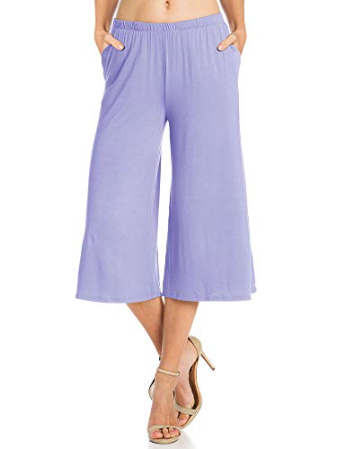 Womens 1 Pack Elastic Waist Jersey Culottes Capri Pocket Pants (X-Large, Lilac)