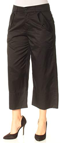 Ralph Lauren Womens Twill Casual Wide Leg Pants, Black, 4