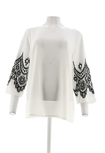 Bob Mackie Embroidered Lace Cut Out Bell SLV Pullover Top White L New A305613 Bob Mackie Embroidered Blouse
