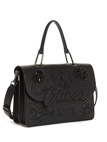 Flap Embroidered in Love GUESS Crossbody Black Top Handle w4XEdAqx