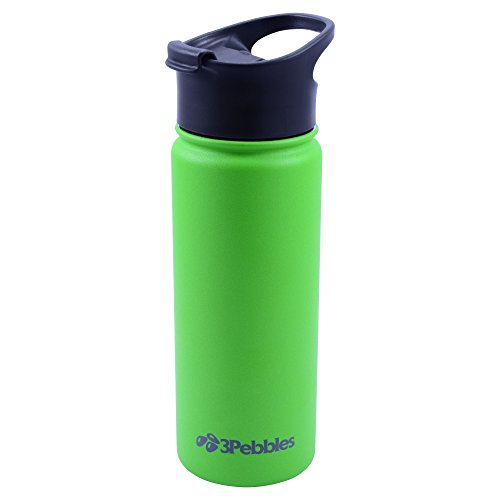Double Wall Insulated Stainless Steel Water Bottle with Faux Brown Leather Padfolio Bundle (Green)
