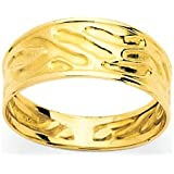 Bague OR 18K Jaune 6 mm dessins vague extra-plate