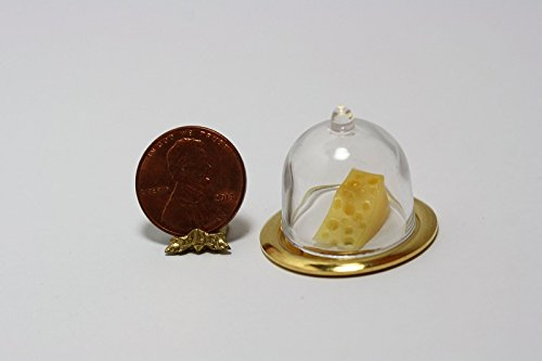 Dollhouse Miniature Cheese Dome with Wedge of Swiss Cheese