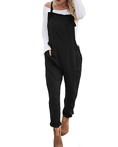 e6526cc469d StyleDome Women s Sleeveless Overall Strappy Pocket Jumpsuit Baggy Romper  Bib Loose Trousers