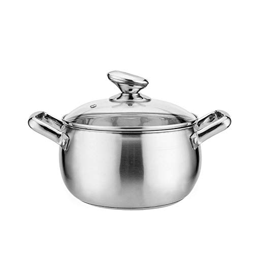 WPCBAA Grueso de Acero Inoxidable Perla Sopa Olla Tubo Oreja Doble Mango Sopa Olla Cocina de inducción Olla de Cocina de...