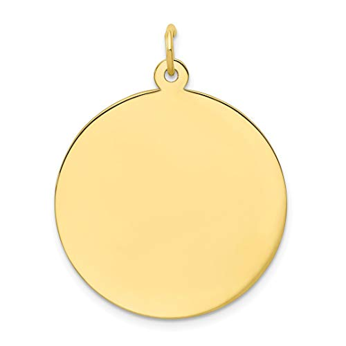 10k Yellow Gold .018 Gauge Circular Engravable Disc Pendant Charm Necklace Round Plain Fine Jewelry For Women Gift Set