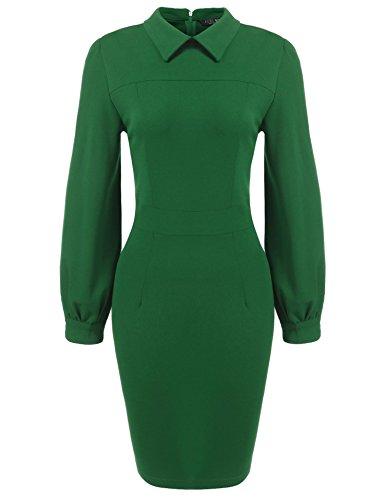 SE MIU Women's Long Sleeve Slim Bodycon Business Pencil Dress Green M