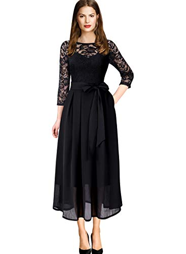VFSHOW Womens Lace Chiffon Patchwork Pockets Casual Cocktail Party A-Line Midi Dress 2028 BLK S