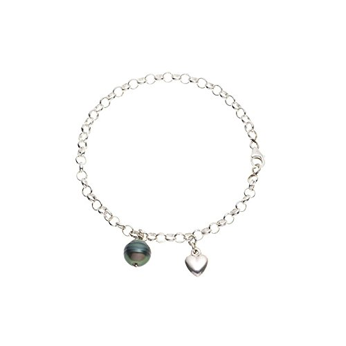 Bracelet Perle de Tahiti et Coeur en Argent Massif 925 -Blue Pearls-BPS 0231 W