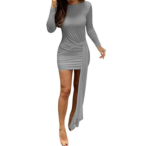 Bodycon Sexy Dresses, QIQIU 2019 Womens Solid Color O-Neck Long-Sleeved Casual Party Evening Dress Grey