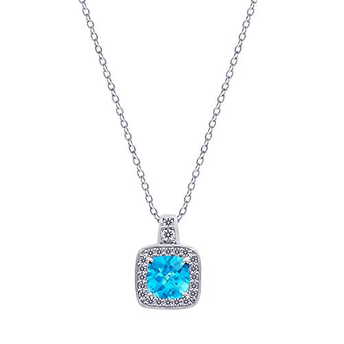 - J'ADMIRE 2.5 Carats Women's Swarovski Paraiba Blue Tourmaline and White Topaz Halo Pendant Necklace, Platinum Plated Sterling Silver, 16