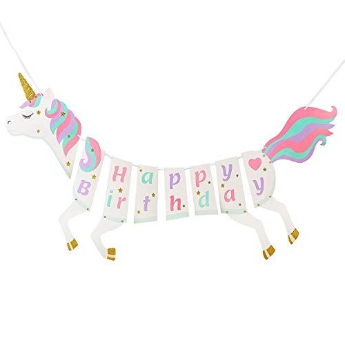Unicorn Happy Birthday Banner, Magical Pastel Design with Sparkle Gold Glitter Pre-assembled Themed Party Pre-Assembled Unicorn Themed Party Supplies Decorations for Cute Fantasy Fairy Girls ()