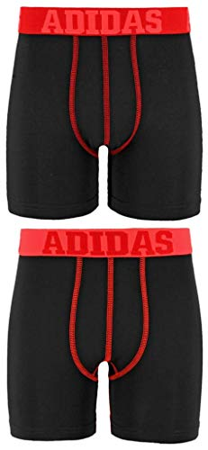 adidas Boys / Youth  Sport Performance Climalite Boxer Brief Underwear (2-Pack), Black/Power Red/Black/Solar Red, Large