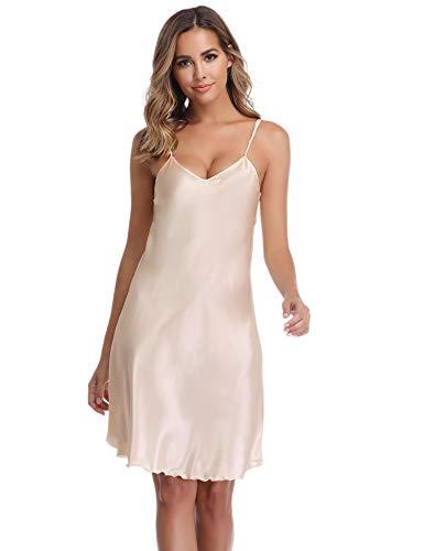Vlazor Satin Nightshirts Sexy Nightdress Spaghetti Strap Negligee Nightgown Chemise Slip with Deep V Neck -