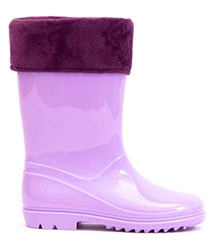 MOFEVER Toddler Girls Kids Rain Boots Warm Snow Winter Waterproof Shoes Velvet Lightweight Shoes Solid Cute Lovely Funny Slip on Design (Size 6,Purple) ()