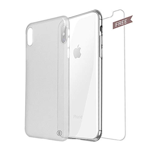 Clear PP Case for Phone XS Max,Slim Thin Matte Frosted Soft Phone Case for Phone,Phone Case Compatible for Phone XS Max(6.5Inch),Anti-Scratch Clear Back+Gift:Premium Tempered Glass Protective Film