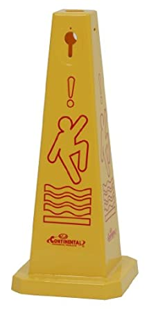 """CMC 221YW Quad-Cones """"Caution"""" Cone with Universal Caution Symbol, Yellow, 26"""" Height (Case of 3)"""