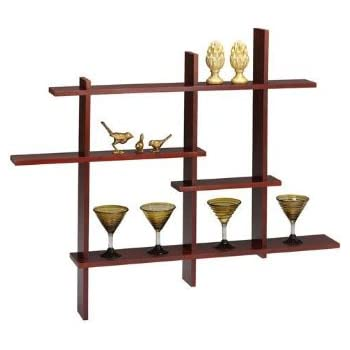 Amazon Com Deluxe Four Level Floating Shelf Dark Cherry