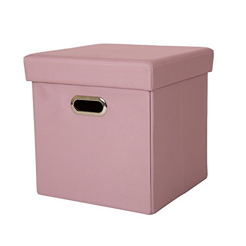 Glitzhome Foldable Oxford Cube Storage Ottoman With Padded Seat Pastel Pink
