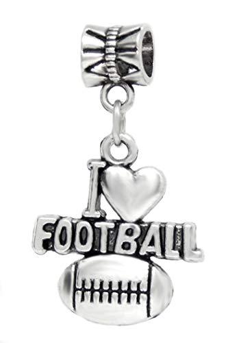 (J&M Dangle I love Football Charm Bead for Bracelets)