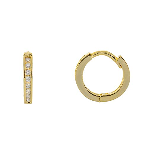 Columbus 14K Gold Dipped Huggie Hoop Earrings - CZ Jewelry Hug Earrings (Pavé Huggie) ()