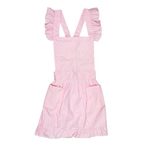 BESTOYARD Victorian Style Pinafore Cake Apron Maid Smock Costume Dress Ruffle Pockets (Maid Costume Ideas)