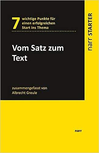 Vom Satz Zum Text Narr Starter Greule Albrecht Bücher