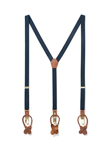 Thin Suspenders, Elastic Y Back Men's Dress Suspenders with Genuine Leather Detailing, Adjustable Strap Dual Clip on, Great for Casual & Formal Attire, Clip On Button On (Navy Blue) from JJ Suspenders