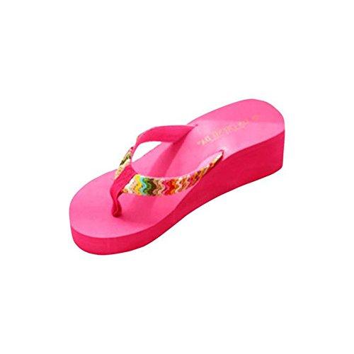 Sandalen Damen LHWY Sommer Plattform Sandalen Flach Elegant Dicker Boden Keile Strand Lässige Flip Flops Frauen Hausschuhe Gewebt Band Hot Pink