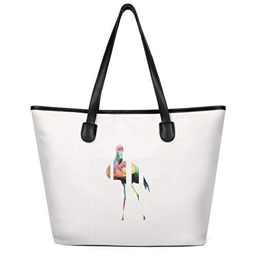 Cute Oversized Canvas Pink Flamingo Clipart Craft Shopping Bag Reusable Beach Bag