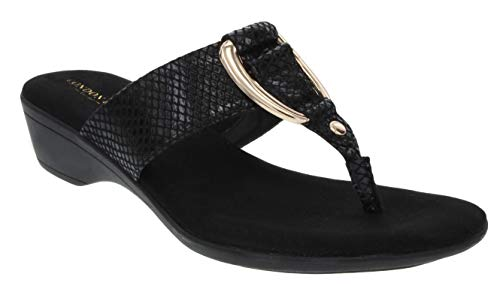 (London Fog Womens Naples Demi-Wedge Dress Sandals Black 8 M)