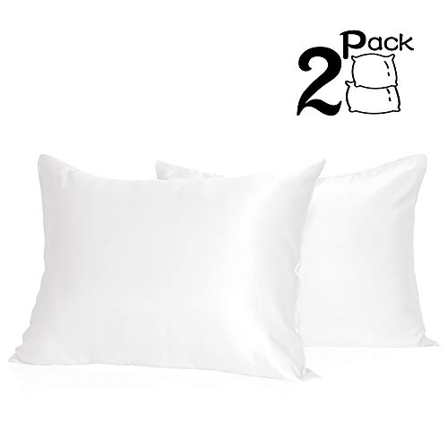 (Muama Silk Satin Pillowcases 2 Pack Silky Pillow Cases Covers for Hair and Skin Super Soft and Luxury Pillowcases Set Anti-Wrinkle No Zipper with Envelope Closure(White King 20''X36''))