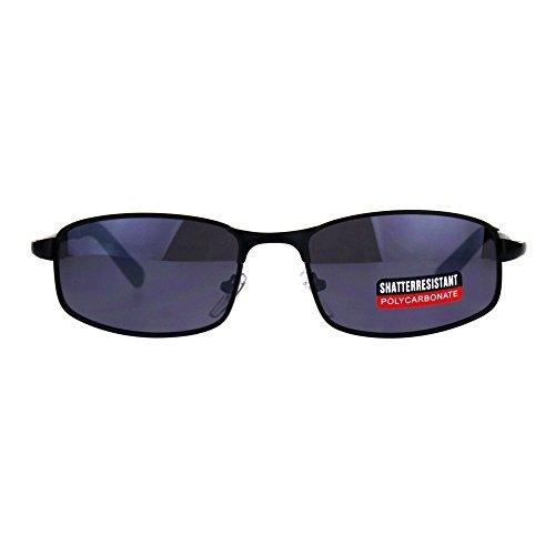 Mens Narrow Rectangular Metal Rim Sport Agent Sunglasses - Rectangular Sunglasses Narrow