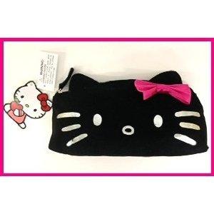SANRIO Hello Kitty Black CANVAS COSMETIC BAG, - Kitty Cosmetics Bag Hello