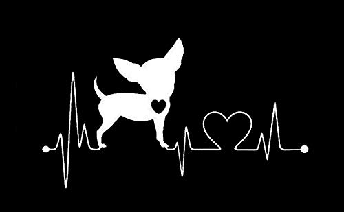CCI Chihuahua Love Heartbeat Decal Vinyl Sticker|Cars Trucks Vans Walls Laptop|White |7.5 x 4.25 in|CCI1850
