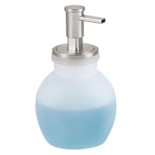 mDesign dispenser sapone che eroga sapone schiumoso – Portasapone ricaricabile in vetro da 432 ml – Per bagno o cucina – Opaco/spazzolato MetroDecor