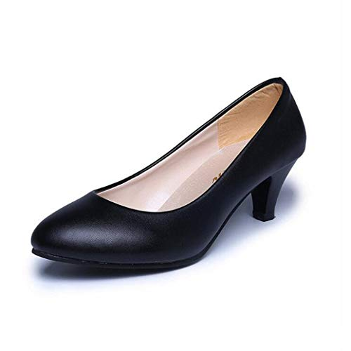 (GanQuan2018 Women Pumps Round Toe Slip on Patent Leather Low Kitten Heel Female Office Work Wedding Party Shoes)