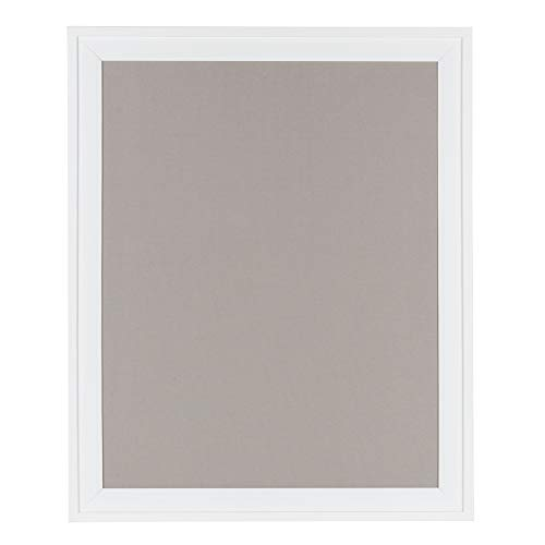DesignOvation Bosc Framed Gray Linen Fabric Pinboard, 23.5x29.5, White