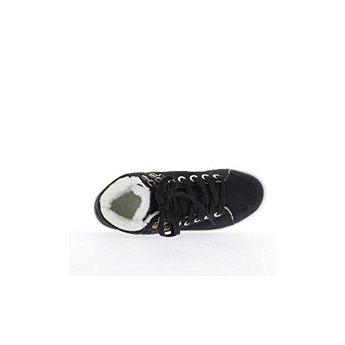 Baskets femme montantes noires à coutures
