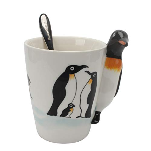 (Novelty Funny Hand Painted Coffee Mug - Penguin 3D Handle Handmade Large 15 oz Porcelain Tea Cup Unique Ideal Gifts )