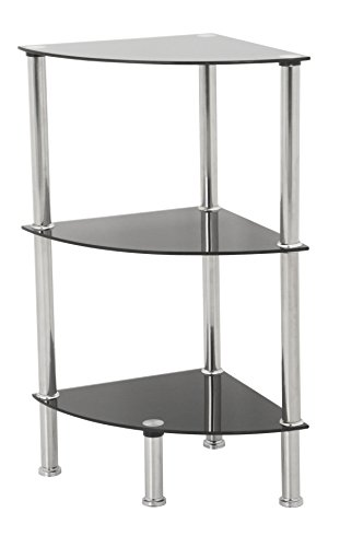 AVF S53-A Corner 3 Tier Shelving Unit in Black Glass & Chrome (Corner Living Room Table)