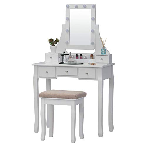 Fineboard FB-VT32-W LED Lights Vanity Table Set with Stool and Mirror with 5 Drawers, White
