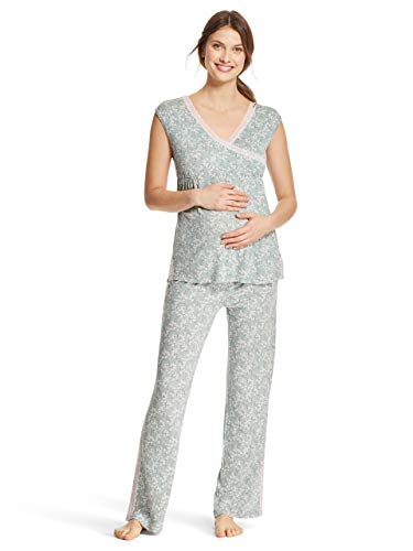 LAMAZE Intimates Womens Maternity Short Sleeve Shirt and Elastic Waist Pants Pajama Set Sage Small