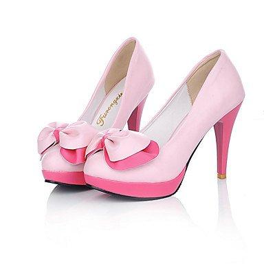 Talones de las mujeres Primavera Verano Otoño Invierno Otro de cuero oficina y carrera del partido y vestido de noche del tacón de aguja del Bowknot Negro Blanco Rosa Pink