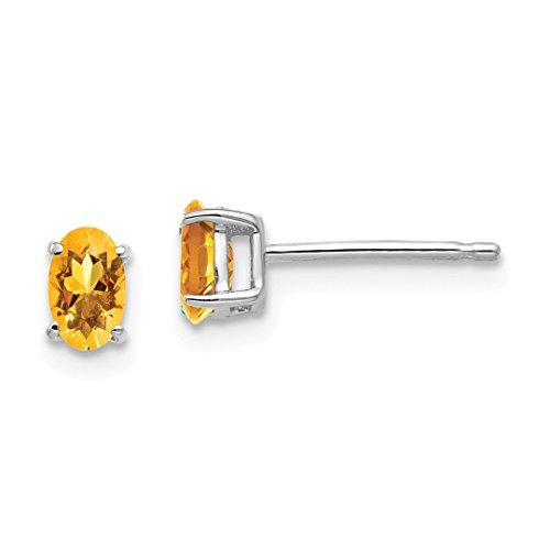 - 14k White Gold 5x3mm Oval Yellow Citrine Post Stud Ball Button Earrings Gemstone Fine Jewelry For Women Gift Set