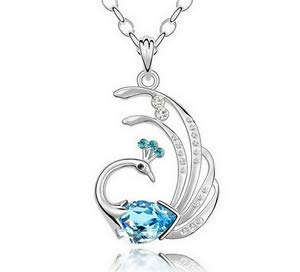 (New Womens Peacock Sky Blue Crystal Rhinestone Silver Chain Pendant Necklace -)