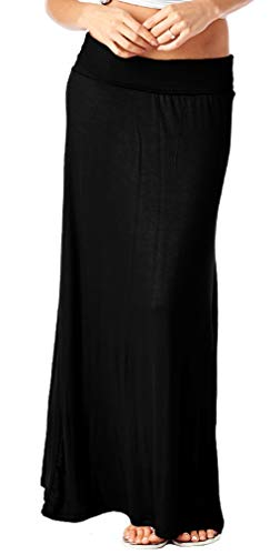 82 Days Womens Casual Solid Long Convertible Maxi Skirt Plus Size - Made In USA