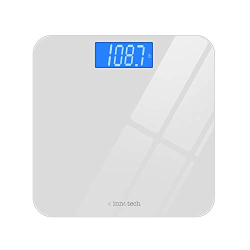 Innotech Digital Bathroom Scale with Easy-to-Read Backlit LCD (White)