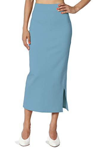 TheMogan Women's Side Slit Ponte Knit High Waist Mid-Calf Pencil Skirt Denim - Denim Straight Skirt